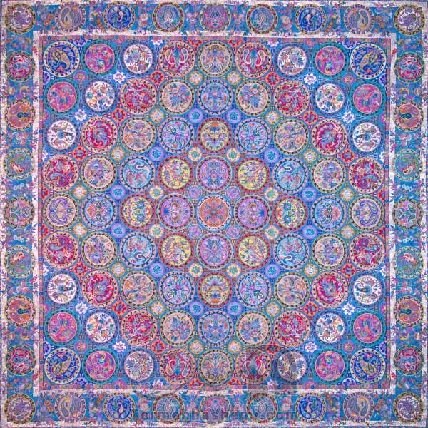 رومیزی ترمه طرح هفت خوان - مربع ۱۰۰×۱۰۰ سانتی متر - رنگ فیروزه ای تار مشکی