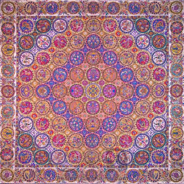رومیزی ترمه طرح هفت خوان - مربع ۱۰۰×۱۰۰ سانتی متر - رنگ حنائی تار مشکی