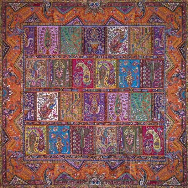 رومیزی ترمه طرح دیوان خشتی - مربع ۱۰۰×۱۰۰ سانتی متر - رنگ نارنجی تار مشکی