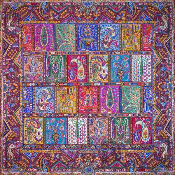 رومیزی ترمه طرح دیوان خشتی - مربع ۱۰۰×۱۰۰ سانتی متر - رنگ زرشکی تار مشکی