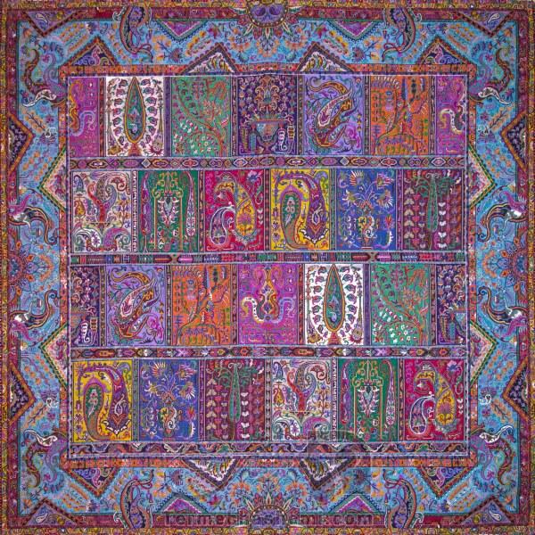 رومیزی ترمه طرح دیوان خشتی - مربع ۱۰۰×۱۰۰ سانتی متر - رنگ سبزآبی تار مشکی