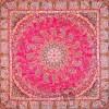 رومیزی ترمه طرح باغ بهشت - مربع 100×100 سانتی متر - رنگ قرمز مات تار مشکی
