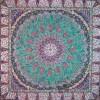 رومیزی ترمه طرح باغ بهشت - مربع 100×100 سانتی متر - رنگ سبز کم رنگ تار مشکی