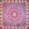 رومیزی ترمه طرح باغ بهشت - مربع 100×100 سانتی متر - رنگ گلبهی تار مشکی