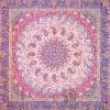 رومیزی ترمه طرح باغ بهشت - مربع 100×100 سانتی متر - رنگ کرم کم رنگ تار سفید