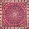 رومیزی ترمه طرح باغ بهشت - مربع 100×100 سانتی متر - رنگ زرشکی تار مشکی