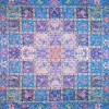 رومیزی ترمه طرح خشتی - مربع 100×100 سانتی متر - رنگ فیروزه ای تار سفید