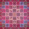 رومیزی ترمه طرح خشتی - مربع 100×100 سانتی متر - رنگ قرمز تار مشکی