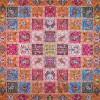 رومیزی ترمه طرح خشتی - مربع 100×100 سانتی متر - رنگ نارنجی تار مشکی