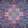 رومیزی ترمه طرح خشتی - مربع 100×100 سانتی متر - رنگ سرمه ای تار مشکی