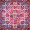 رومیزی ترمه طرح خشتی - مربع 100×100 سانتی متر - رنگ زرشکی تار مشکی