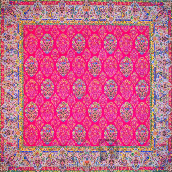 رومیزی ترمه طرح ظل السلطان - مربع ۱۰۰×۱۰۰ سانتی متر - رنگ قرمز مات تار مشکی