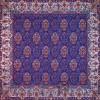 رومیزی ترمه طرح ظل السلطان - مربع ۱۰۰×۱۰۰ سانتی متر - رنگ سرمه ای تار مشکی