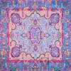 رومیزی ترمه طرح کوروش - مربع ۱۰۰×۱۰۰ سانتی متر - رنگ سبزآبی تار مشکی