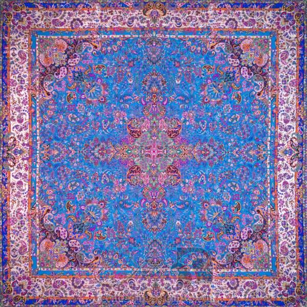 رومیزی ترمه طرح سپهر -  مربع ۱۰۰×۱۰۰ سانتی متر - رنگ فیروزه ای تار مشکی