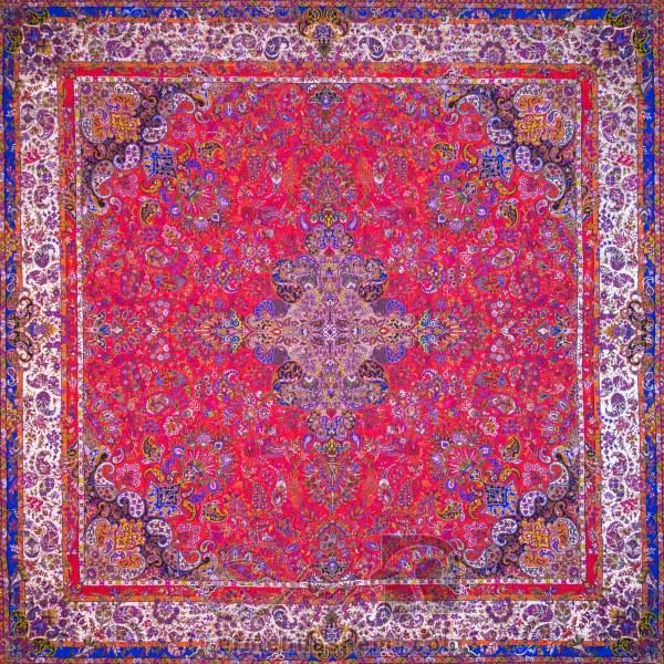 رومیزی ترمه طرح سپهر -  مربع ۱۰۰×۱۰۰ سانتی متر - رنگ قرمز تار مشکی