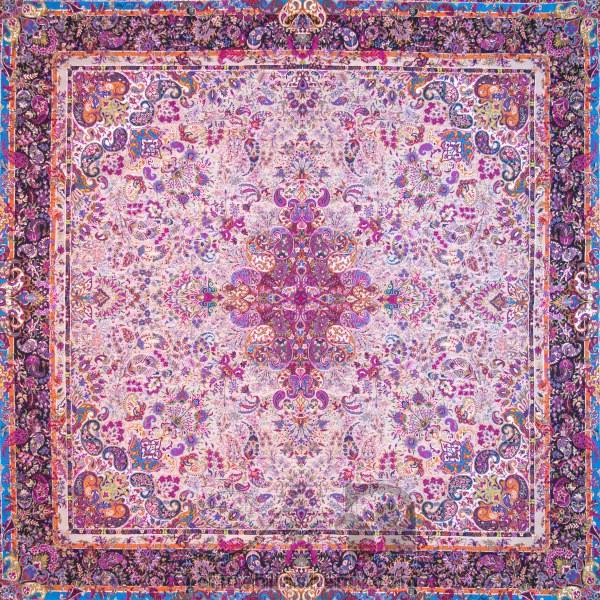 رومیزی ترمه طرح سپهر -  مربع ۱۰۰×۱۰۰ سانتی متر - رنگ کرم کم رنگ تار مشکی