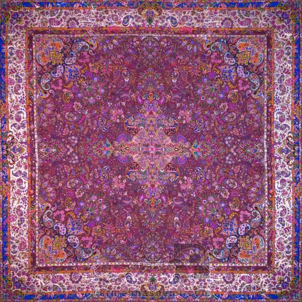 رومیزی ترمه طرح سپهر - مربع ۱۰۰×۱۰۰ سانتی متر - رنگ زرشکی تار مشکی