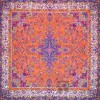 رومیزی ترمه طرح سپهر -  مربع ۱۰۰×۱۰۰ سانتی متر - رنگ نارنجی تار مشکی