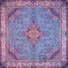 رومیزی ترمه طرح سپهر -  مربع ۱۰۰×۱۰۰ سانتی متر - رنگ سبزآبی  تار مشکی
