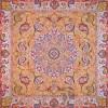 رومیزی ترمه طرح شهریار - مربع 100×100 سانتی متر - رنگ خردلی تار مشکی