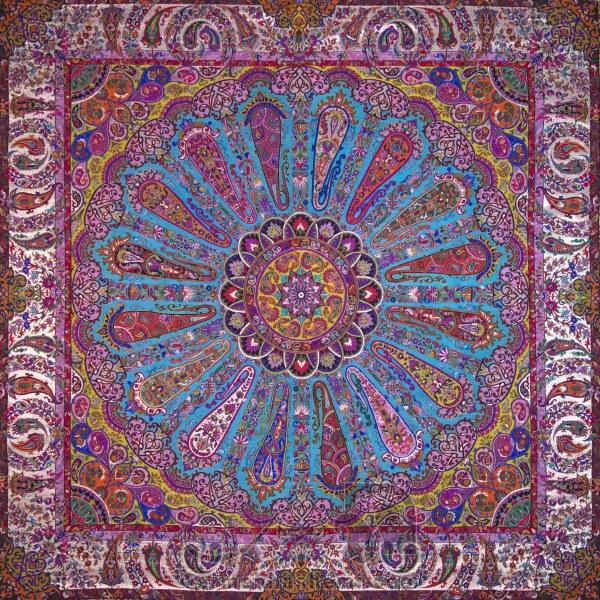 رومیزی ترمه طرح سلجوقی - مربع 100×100 سانتی متر - رنگ سبزآبی تار مشکی