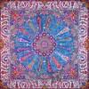 رومیزی ترمه طرح سلجوقی - مربع 100×100 سانتی متر - رنگ فیروزه ای تار مشکی