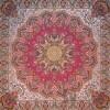رومیزی ترمه طرح شاهدخت - مربع 100×100 سانتی متر - رنگ قرمز  تار مشکی