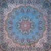 رومیزی ترمه طرح شاهدخت - مربع 100×100 سانتی متر - رنگ سبزآبی تار مشکی