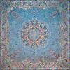 رومیزی ترمه طرح ستایش - مربع 100×100 سانتی متر - رنگ سبزآبی تار مشکی