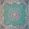 رومیزی ترمه طرح ستایش - مربع 100×100 سانتی متر - رنگ سبز کم رنگ تار مشکی
