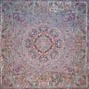 رومیزی ترمه طرح ستایش - مربع 100×100 سانتی متر - رنگ کرم کم رنگ تار مشکی