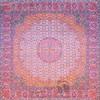 رومیزی ترمه طرح گل ماهی - مربع ۱۰۰×۱۰۰ سانتی متر - رنگ کرم کم رنگ تار سفید