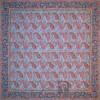 رومیزی ترمه طرح کج راه - مربع ۱۰۰×۱۰۰ سانتی متر - رنگ سبزآبی تار مشکی