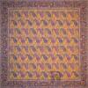 رومیزی ترمه طرح کج راه - مربع ۱۰۰×۱۰۰ سانتی متر - رنگ زرد پرتقالی تار مشکی